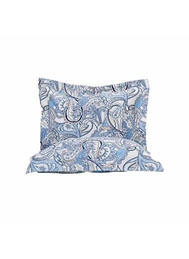 Bella Maison %100 Pamuk Saten Bianca Volanlı Yastık Kılıfı 50x70 Cm (2 Adet) Mavi